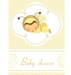 Baby shower card with sleeping bee girl vector
