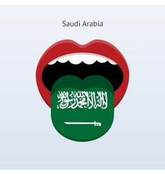 Saudi arabia language abstract human tongue vector