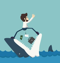 Businessman standing on jaws of shark vector