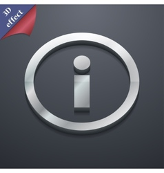 Information icon symbol 3d style trendy modern vector