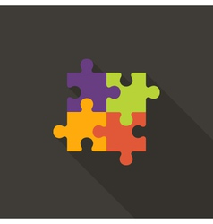 Four puzzle flat icon vector
