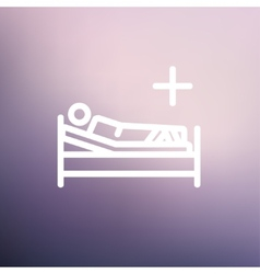 Patient is lying on medical bed thin line icon vector