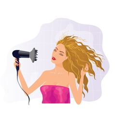 Blond girl with hairdryer vector