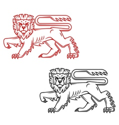 Heraldic lion king in retro cartoon style vector