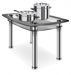 Glass table with saucepans vector