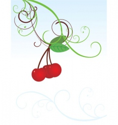 Curved cherries image vector