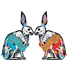 Colorfull rabbits vector