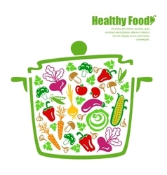 Healthy food vegetables in the pan vector
