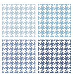 Houndstooth tile blue and white pattern set vector
