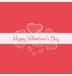 Valentines card with glowing hearts and white vector
