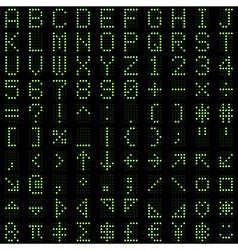 Green dot digital font and symbol set vector