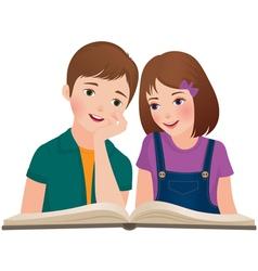 Children read the book vector