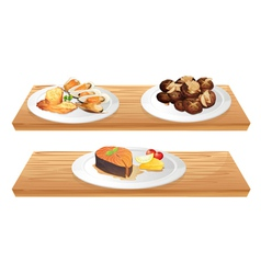 Two wooden shelves with foods vector