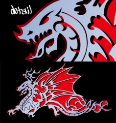 Steel dragon cutout vector