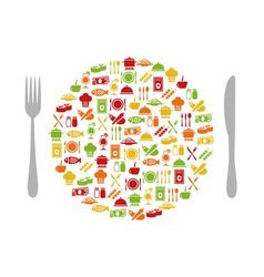 Restaurant icons in circle with cutlery vector