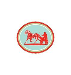 Horse and jockey harness racing rosette retro vector