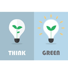 Little plant inside a light bulb green eco energy vector