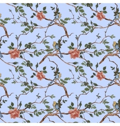Rose blossom branches with bird seamless pattern vector
