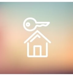 Key for house thin line icon vector
