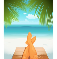 Legs on beach vector