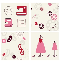 Sewing seamless backgrounds and objects set vector