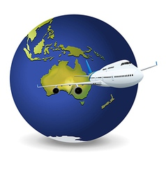 Earth globe airplane vector