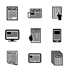 Black newspaper icons set vector