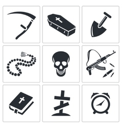 Death and burial icon collection vector