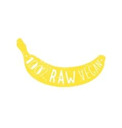 Raw vegan banana label vector