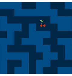 Abstract pixel maze labyrinth with cherry bonus vector