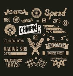 Car races club badges in retro style vector