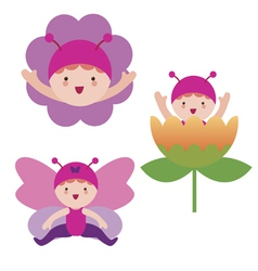 Cute butterfly babies characters vector