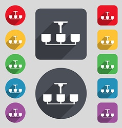 Chandelier light lamp icon sign a set of 12 vector