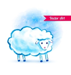 Cute watercolor sheep vector