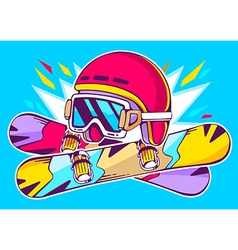 Helmet and snowboards on blue background vector