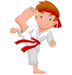 Little boy training karate vector