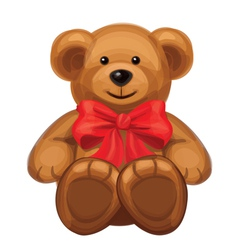 Cute brown bear with red bow vector