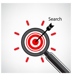 Magnifying glass and target concept background vector