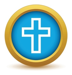 Gold christianity icon vector