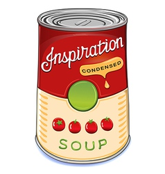Can of condensed tomato soup inspiration vector