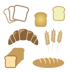 Set of white bread bakery icons vector