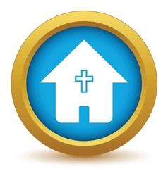 Gold church icon vector
