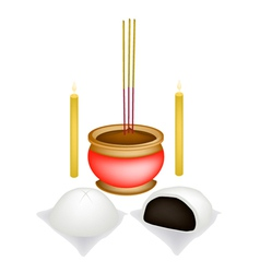 Chinese baozi with candle and joss stick vector