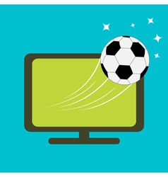 Football soccer ball flying from tv set flat desig vector