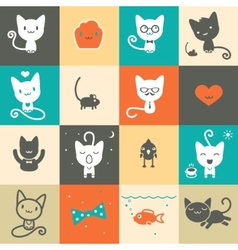 Set of colorful animal icons vector