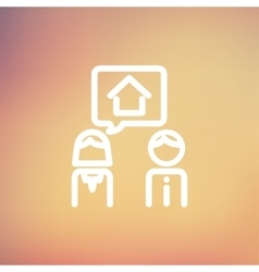 Couple consider to buy a house thin line icon vector
