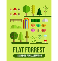 Forest flat elements set vector