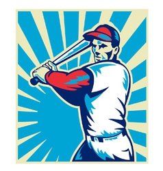 Baseball player holding bat vector