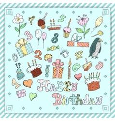 Birthday postcard vector