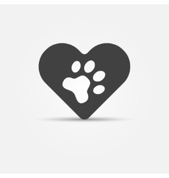 Black pet paw in heart icon vector